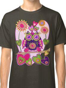 Flower power Owl in Love Classic T-Shirt