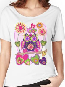 Flower power Owl in Love Women's Relaxed Fit T-Shirt