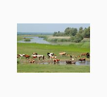 cows and horses on river Unisex T-Shirt