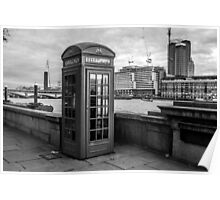 Black And White telephone Box Poster