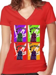 To Victory Dr. Who  Women's Fitted V-Neck T-Shirt