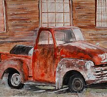 Red Truck by artmydrinksays