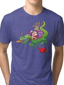 Santa changed his reindeer for a dragon Tri-blend T-Shirt