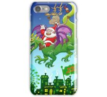 Santa changed his reindeer for a dragon iPhone Case/Skin