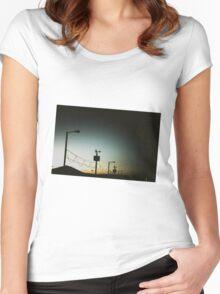Beach Hut Sunset Women's Fitted Scoop T-Shirt