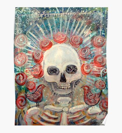 Grateful Sugar Rose Scull Poster