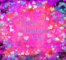 Happy Valentines Day grunge hearts greeting card by Mariannne Campolongo