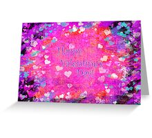 Happy Valentines Day grunge hearts greeting card Greeting Card