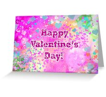 Happy Valentines Day grunge hearts greeting card and poster Greeting Card