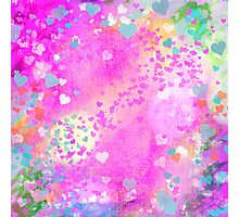 Grunge hearts abstract art I Photographic Print
