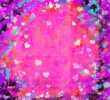 Grunge hearts abstract art II by Mariannne Campolongo
