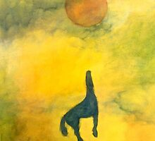 BLUE ASCENDING HORSE RED BALL by dkatiepowellart