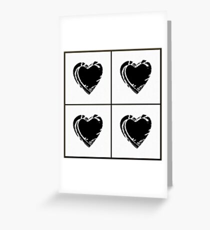 Black and White Pixel Hearts Greeting Card