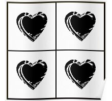 Black and White Pixel Hearts Poster