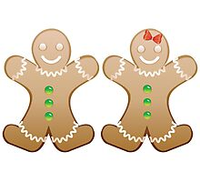 Smiling Gingerbread Cookies Photographic Print