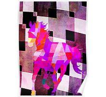 Modern Geometric Colorful Horse with Canvas Texture Poster