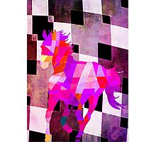Modern Geometric Colorful Horse with Canvas Texture Photographic Print
