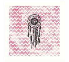 Pink Chevron Dreamcatcher Art Print