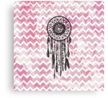 Pink Chevron Dreamcatcher Canvas Print