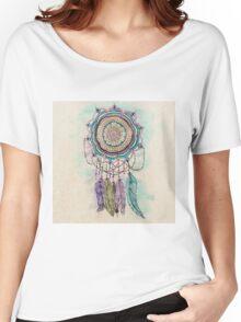 Modern tribal hand paint dreamcatcher mandala design Women's Relaxed Fit T-Shirt