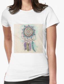 Modern tribal hand paint dreamcatcher mandala design Womens Fitted T-Shirt