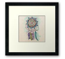 Modern tribal hand paint dreamcatcher mandala design Framed Print