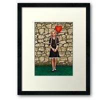 Girl and Heart Framed Print