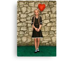 Girl and Heart Canvas Print