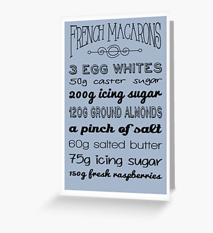 French Macarons Recipe Greetings Card Greeting Card