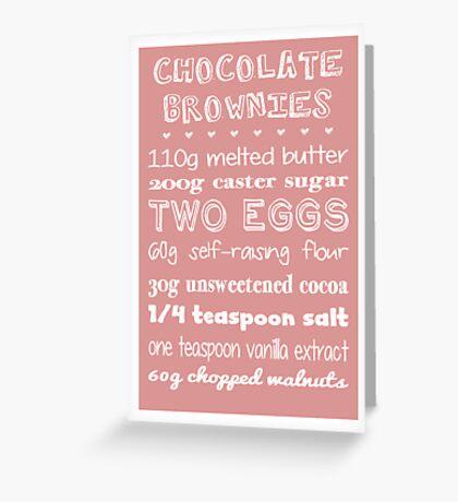 Chocolate Brownies Recipe Greetings Card Greeting Card