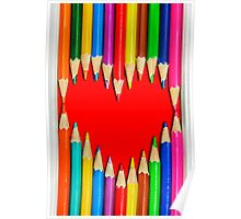 Heart Shape Pencils Poster