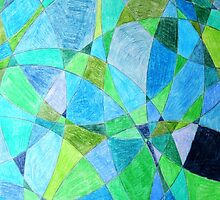 Mosaic Rectangle Blue Green by gt6673