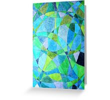Mosaic Rectangle Blue Green Greeting Card