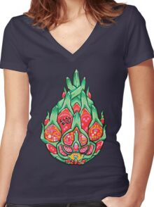 Fruity Hero // Electric Dragonfruit Women's Fitted V-Neck T-Shirt