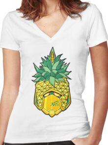 Fruity Hero // Pineapple Robo Women's Fitted V-Neck T-Shirt