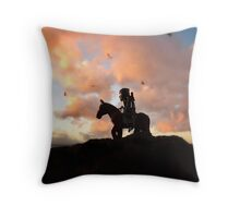 Ninja horseback sunset Throw Pillow