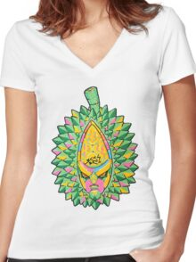 Fruity Hero // Durian Major Women's Fitted V-Neck T-Shirt