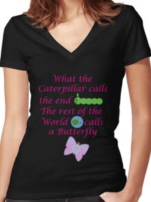 The Rest of the World calls a Butterfly Women's Fitted V-Neck T-Shirt