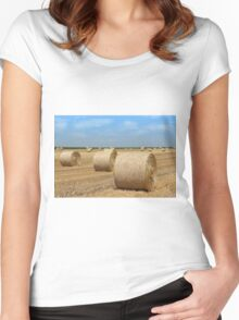 straw bales agriculture industry Women's Fitted Scoop T-Shirt