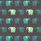 Blue and Green Good Luck Elephants by KarterRhys