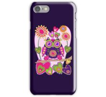 Flower power Owl in Love, decorative vector case iPhone Case/Skin