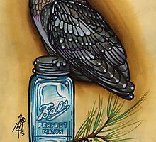 owl with mason jar and spruce twig, cascadia by resonanteye