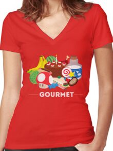 Gourmet - Video Game Food Tee Women's Fitted V-Neck T-Shirt