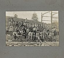 Cabinet Card: Barn Raising c1895 by toolemera