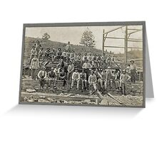 Cabinet Card: Barn Raising c1895 - Cropped Greeting Card