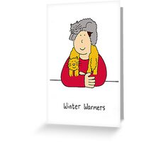 Winter warmers cats keeping owner warm. Greeting Card