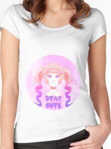 Stay Cute Sticker Women's Fitted Scoop T-Shirt