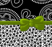 Dog Paws, Traces, Dots - Ribbon and Bow - White Black Green by sitnica