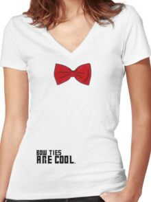 Bow Ties are Cool!  Women's Fitted V-Neck T-Shirt