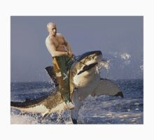 Putin riding a shark (With Background) by Frogpen